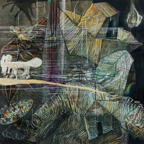 Haralabos Katsatsidis, The painter's Arc, 2 m x 2 m, oil on canvas, 2015-17