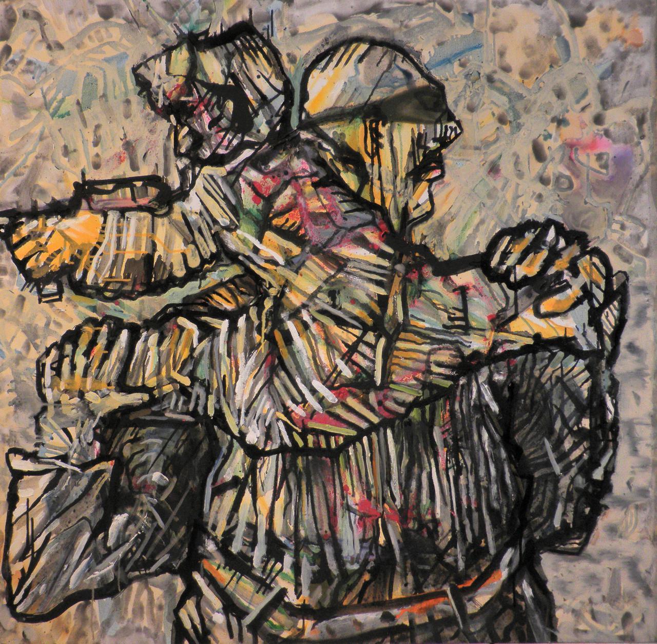 alt=Haralabos Katsatsidis, Man and child in war zone, 1 m x 1 m, oil on canvas, 2018