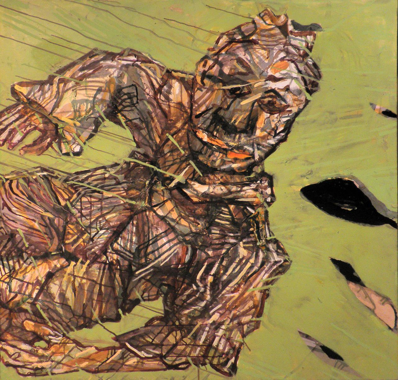 Haralabos Katsatsidis, Falling man, 1 m x 1 m, oil on canvas, 2018