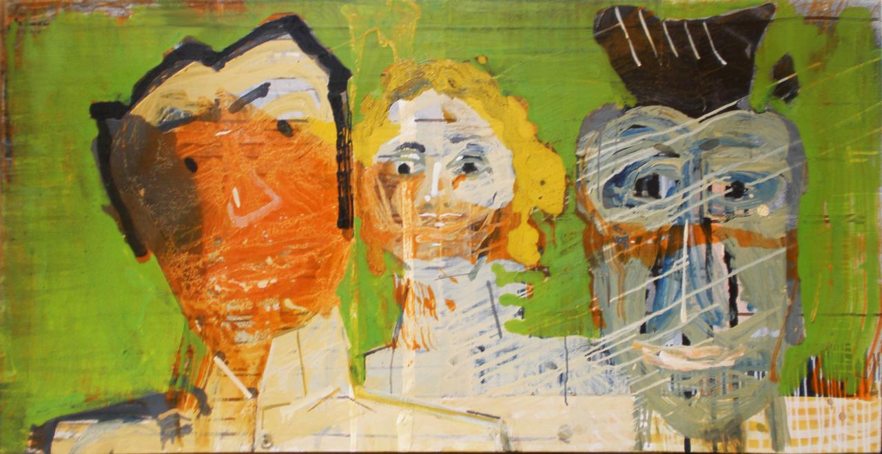 Haralabos Katsatsidis, Three portraits, 132 cm x 66 cm, oil on canvas, 2015