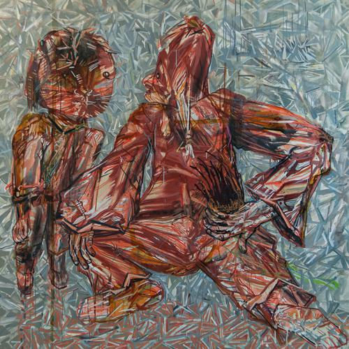 Haralabos Katsatsidis, Minion on aluminium, 2 m x 2 m, oil on canvas,  2015-16