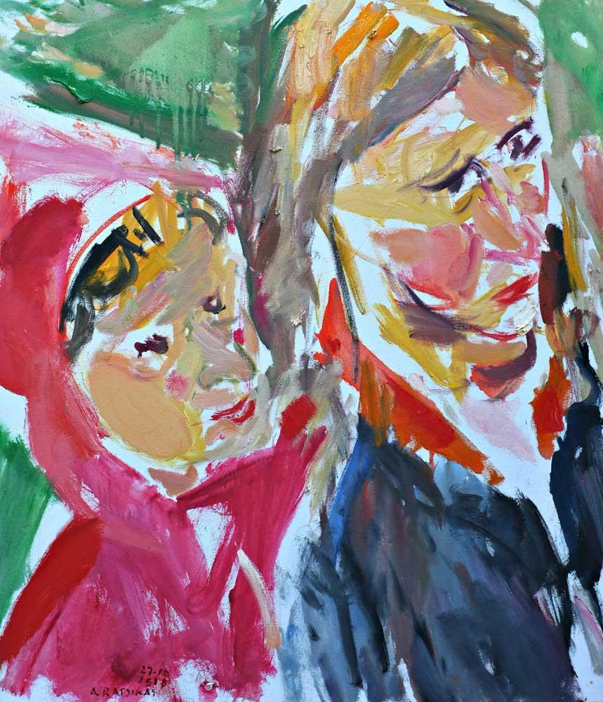 Girls P., oil on canvas, 71 x 60 cm, 2011