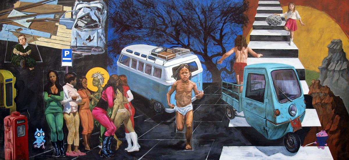 All Is The Same Road,  oil H2O  on canvas, 200 x 430 cm, 2014