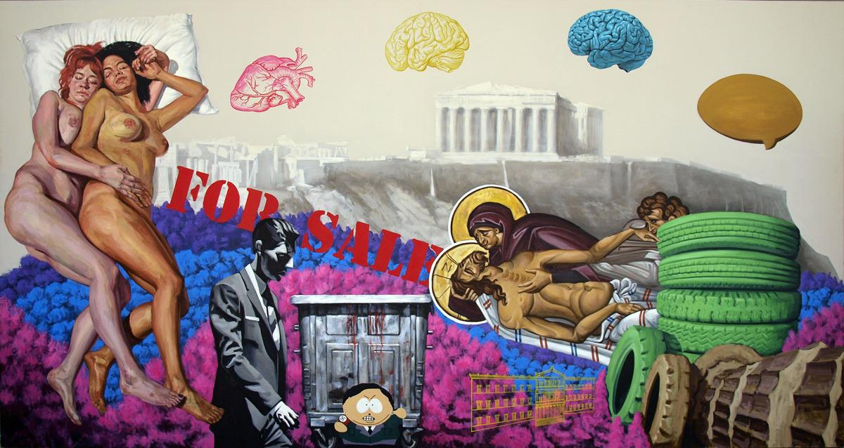 For Sale,  oil H2O  on canvas, 200 x 380 cm, 2014