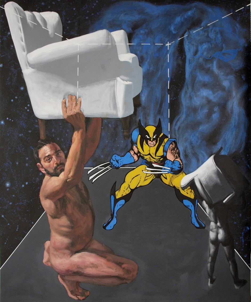 Wolverine Mutates, oil H2O and paint markers on canvas, 120 x 100 cm, 2015