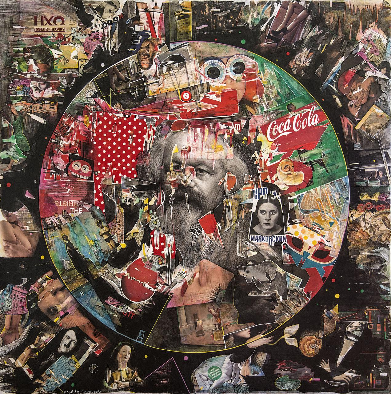 Never Mind The Marx, 150 x 150 cm, mixed media on canvas, 2017