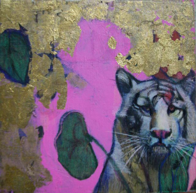 Tiger, gold leaf and acrylic on silk mounted on canvas, 20 x 20 cm, 2018
