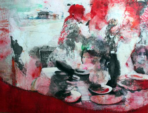Family is taking lunch under the Acropolis, mixed media on rice paper mounted on canvas, 100 x 130cm, 2018