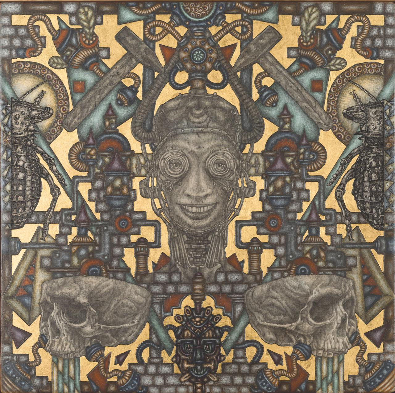 Homo Faber's Maze, 35.5 cm x 35.5 cm, acrylics, pencil, ink and gold 22K, on wood, 2018