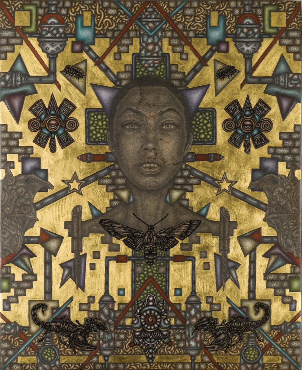 Isis, 40 cm x 50 cm, acrylics, pencil, ink and gold 22K, on wood, 2018