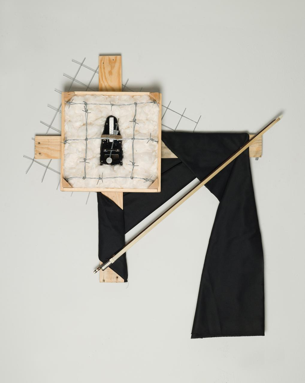 Where The Music Goes When We Don't Listen, 90 cm x 78 cm x 12 cm, wood, iron, cotton, metronome, fabric, fiddle stick, 2018