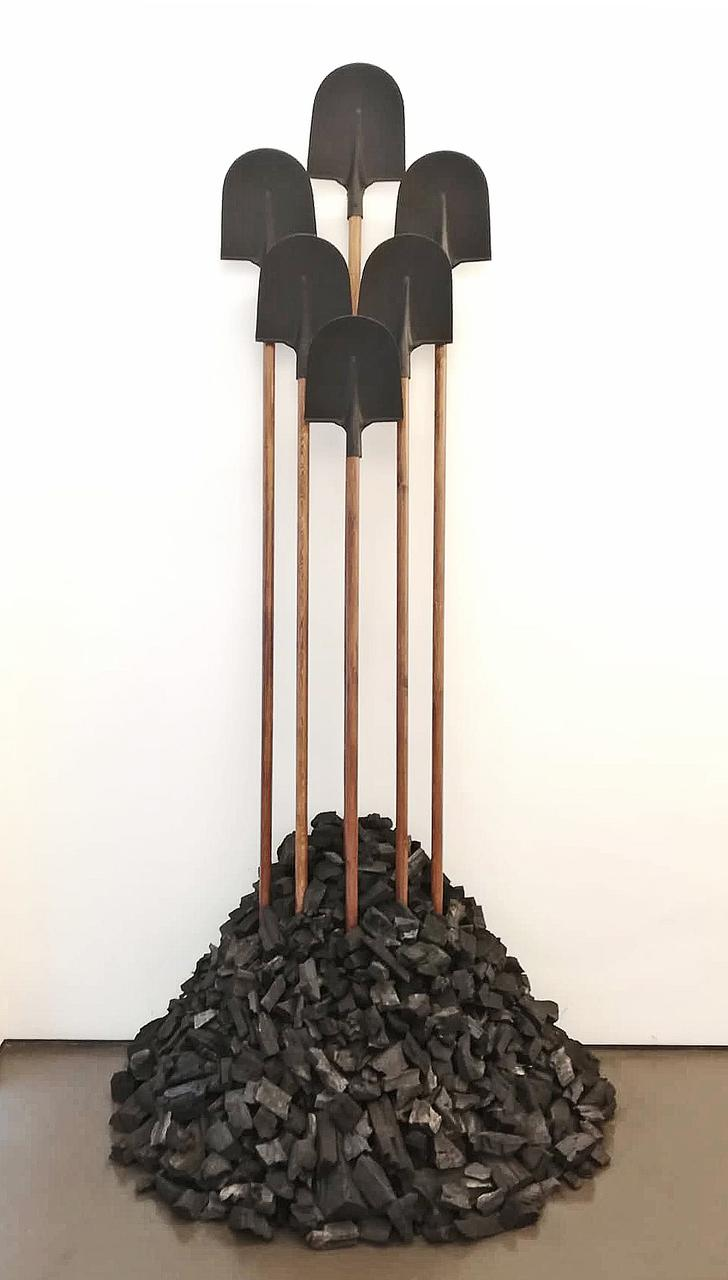 Ne Travallez Jamais, variable dimensions, wood, iron shovels, coals, 2011-2018