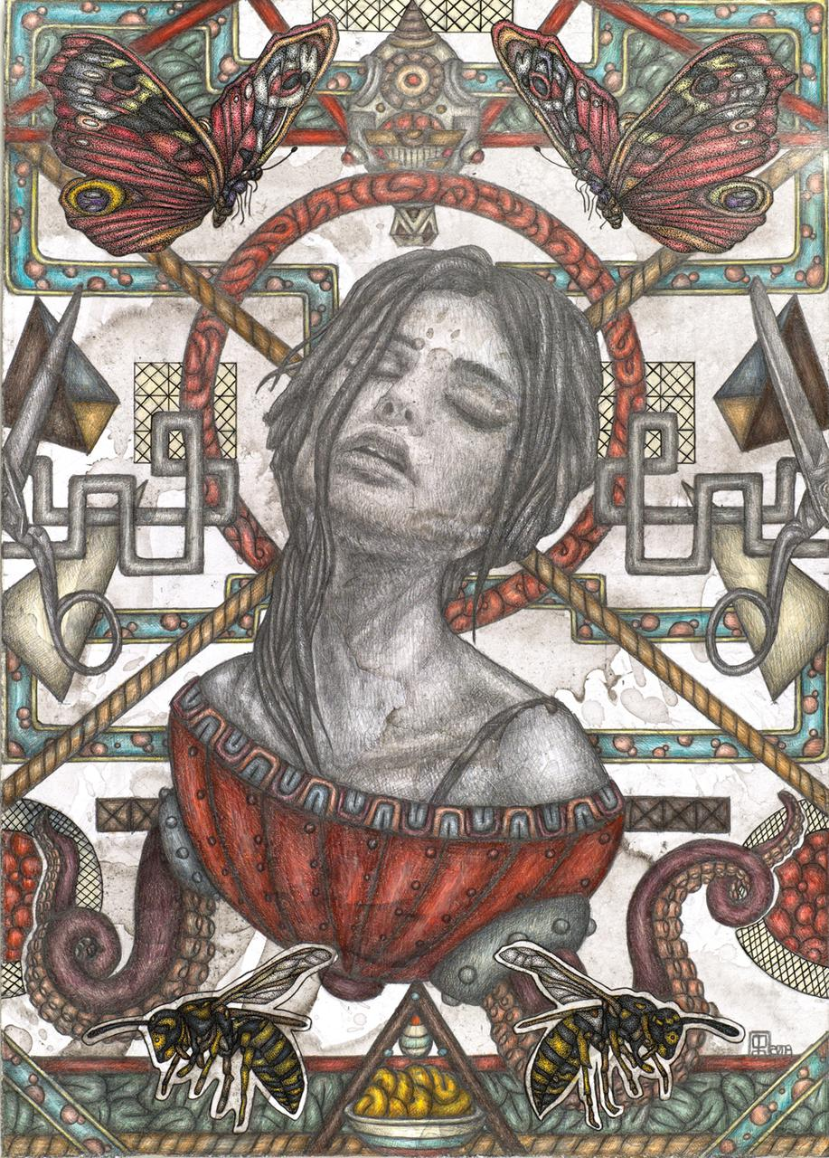 Saint Magdalene, 25 cm x 35 cm pencil, coloured pencils and ink on paper, 2018