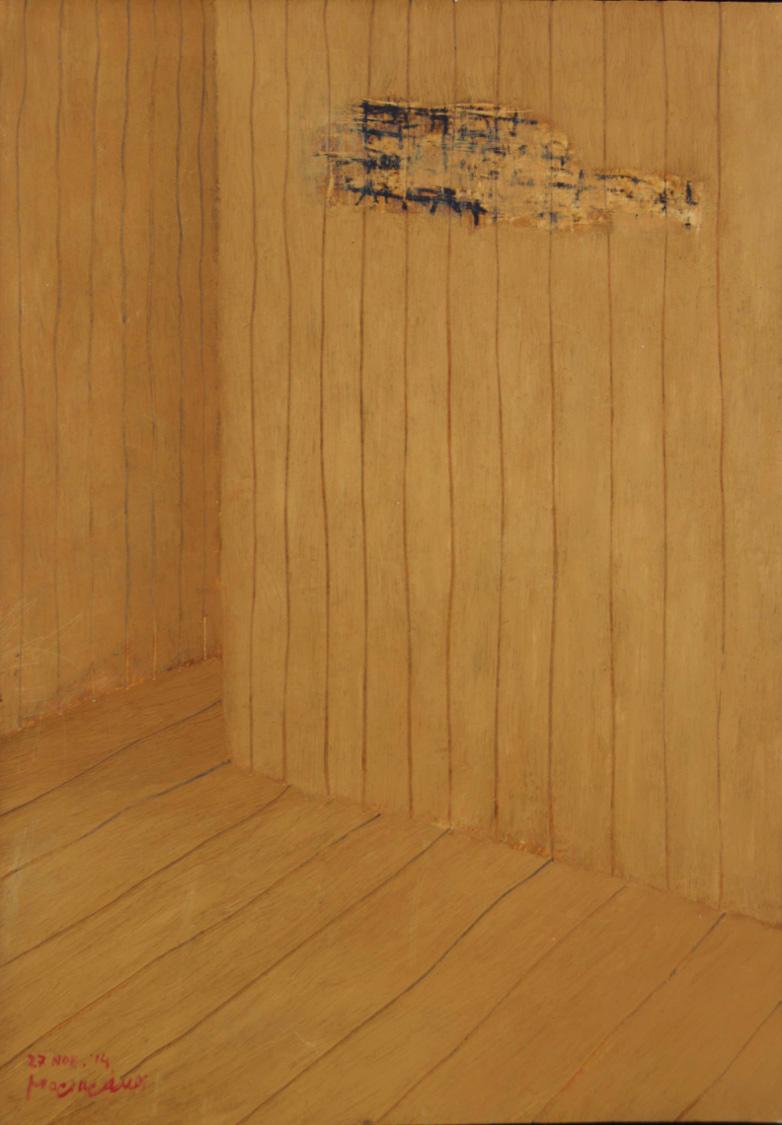Kyriakos Mortarakos, Yellow Interior, Oil on MDF paper, 35x50 cm, 2014, Courtesy of Zoumboulakis Galleries