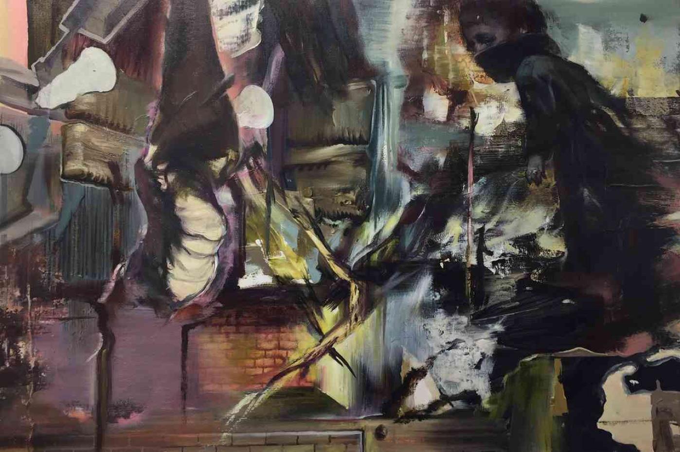 Tassos Missouras, Present Perfect, Oil and acrylics on canvas, 41x61 cm, 2019