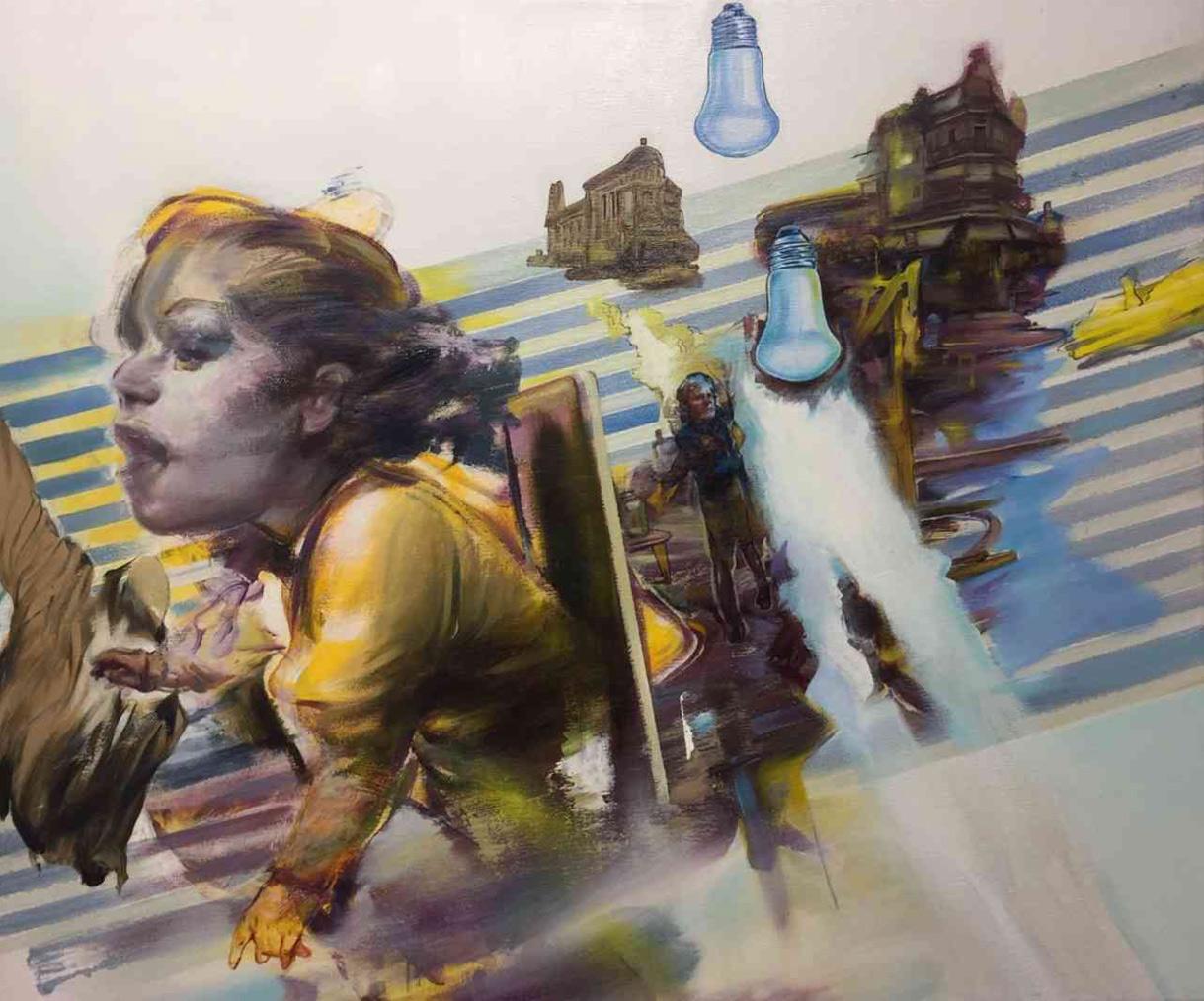 Tassos Missouras, Careful reversal of syntax, Oil and acrylics on canvas, 41x61 cm, 2019