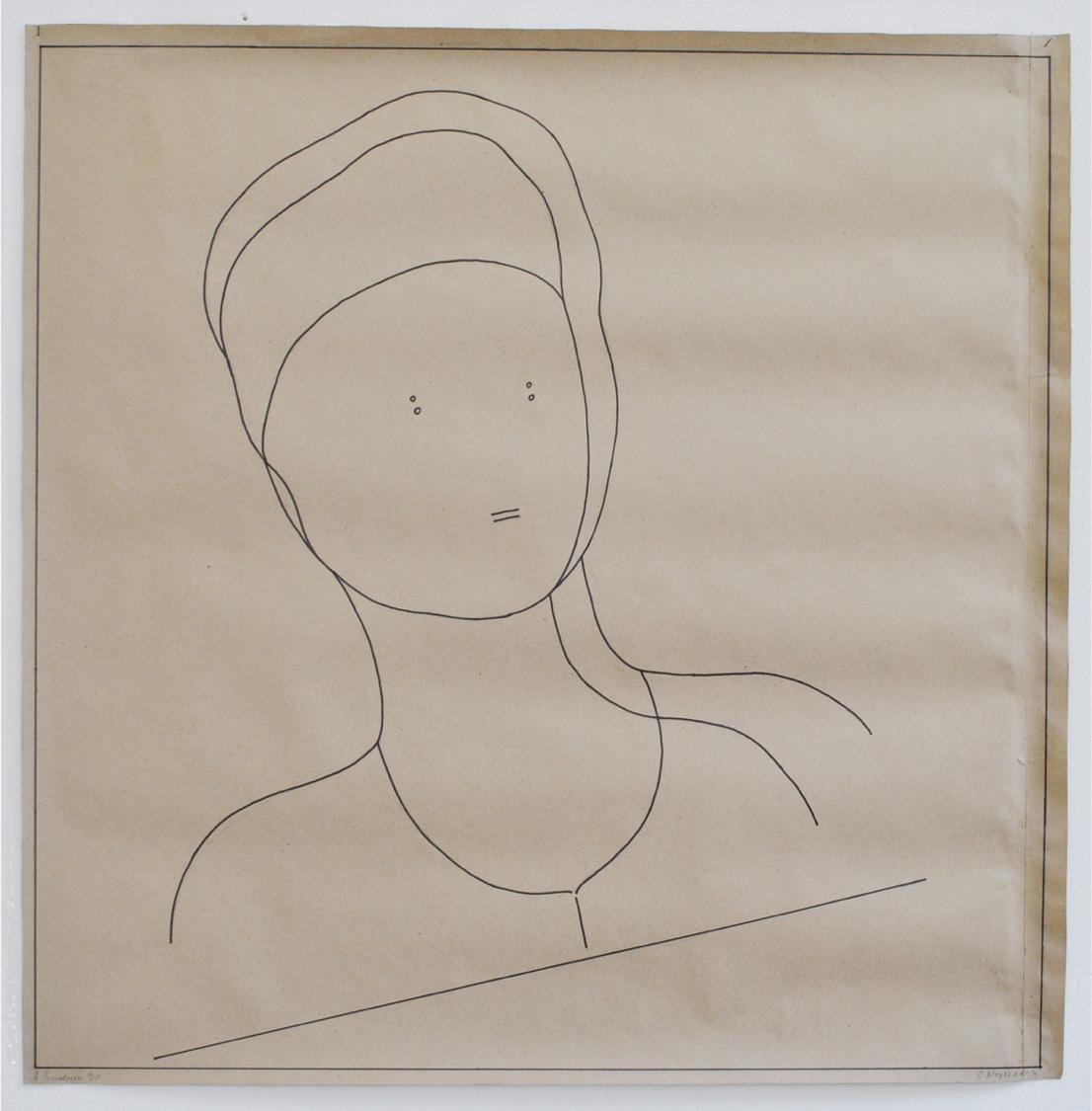 Ilias Papailiakis, Narcissus, Ink on paper, 100x100 cm, 2020