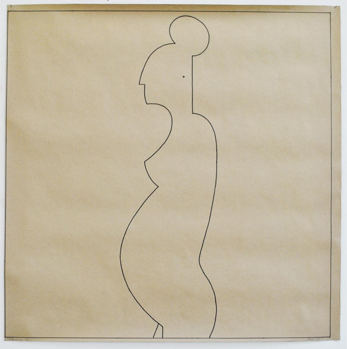 Ilias Papailiakis, Pregnant woman in profile, Ink on paper, 100x100 cm, 2020