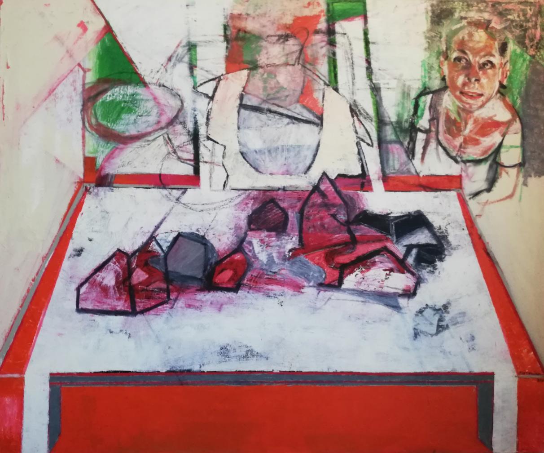 Irene Matsouki, Lunch, Oil on canvas, 120x100 cm, 2020