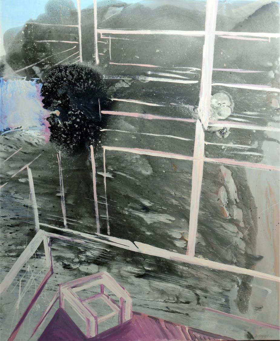 Panayiotis Siagris, Sit, monkey…, Watercolour and oil on canvas, 100x120 cm