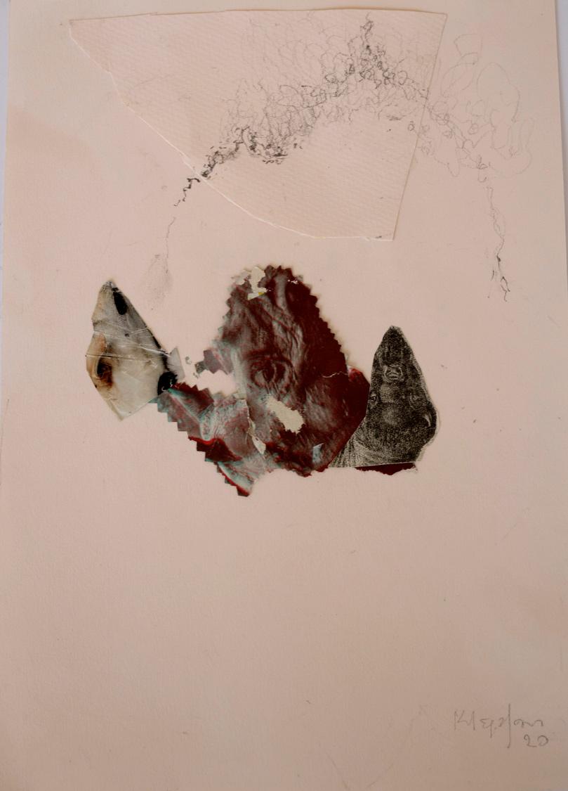 Katerina Mertzani, Zootopia 3, Collage on paper, acrylics, pencil, 30x21 cm, 2020