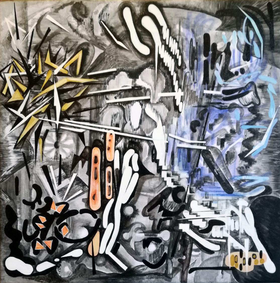 Vana Fertaki, Space, Varnish and oil on canvas, 40x40 cm, 2020