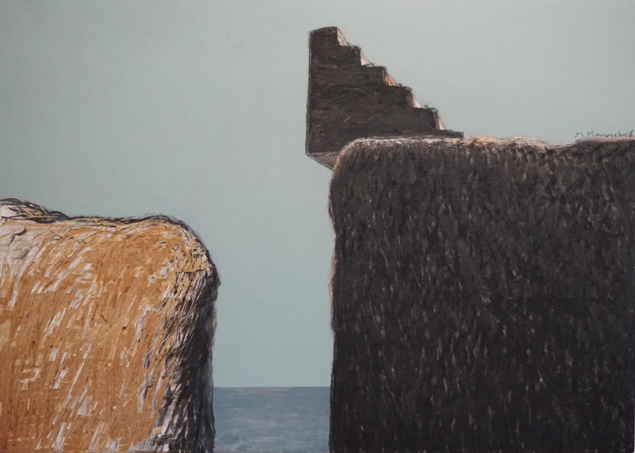 Μichalis Manousakis, Passage from a different place and time, Acrylics and charcoal on wood, 50x70 cm, Courtesy of Ekfrasi-Yianna Grammatopoulou Gallery