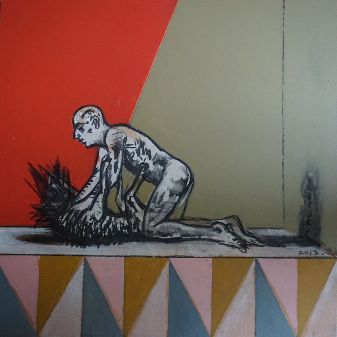 Μichalis Manousakis, Erotic fight with spikes, Acrylics and charcoal on wood, 40x40 cm, 2017, Courtesy of Ekfrasi-Yianna Grammatopoulou Gallery