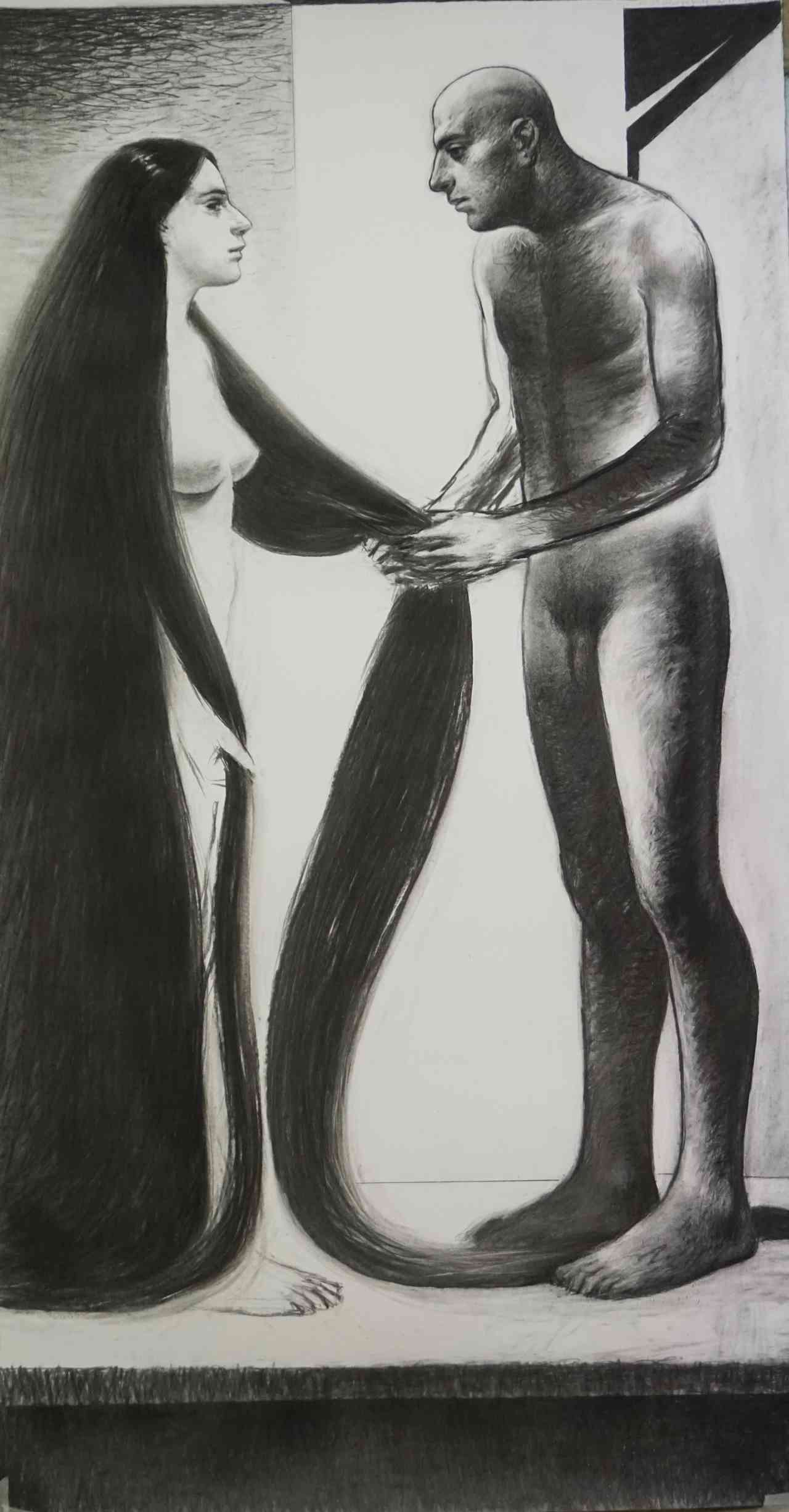 Michalis Manousakis, Untitled, 200 x 100 cm, charcoal on paper