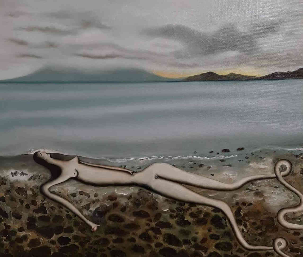Vangelis Pliarides, Matsiki Beach, 60 x 70 cm, oil on linen, 2019