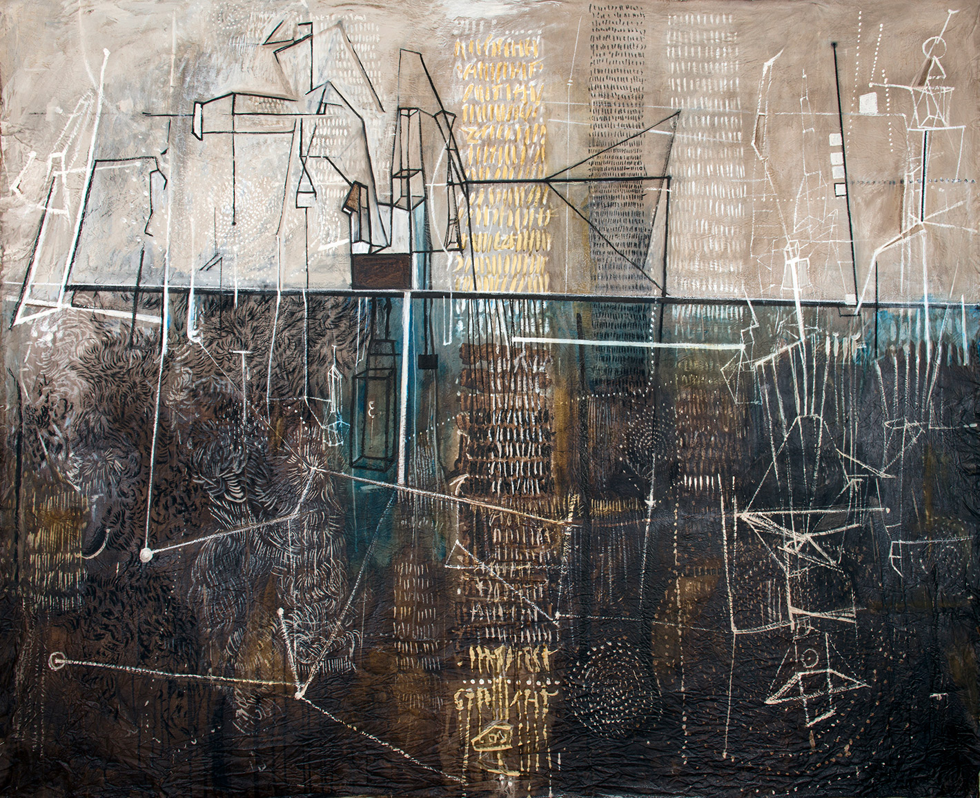 Mindscape I, ink and charcoal on canvas, 193 x 240 cm, 2020