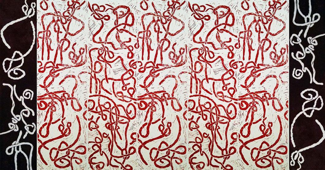 Marion Inglessi Virus, linocut on paper, 80x 180 cm Artist's Statement + Bio