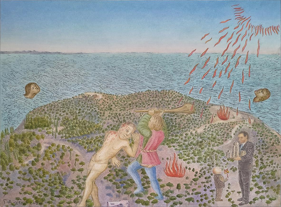 Yiorgos Avgeros, Le Livre de la v.N.S. V, painting pigments on paper, 40 x 28,5 cm, 2020