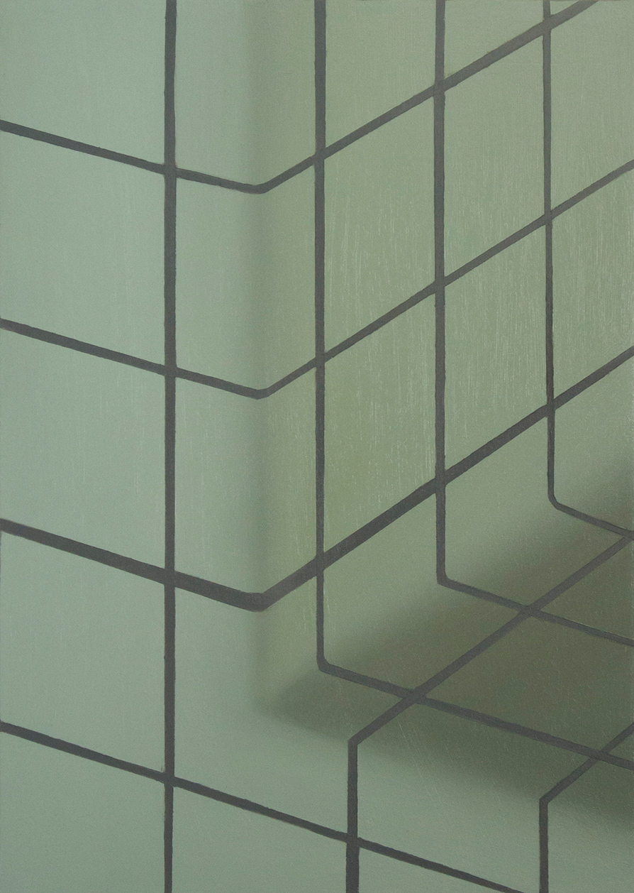 Prodromos Charalampidis, Tiles #2 (series), oil on wood, 30 x 40 cm, 2021