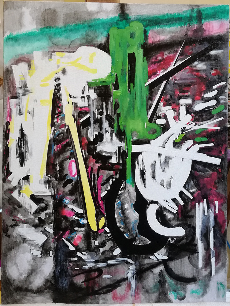 Vana Fertaki, Interior, acrylics and varnish on canvas, 40 x 30 cm, 2021