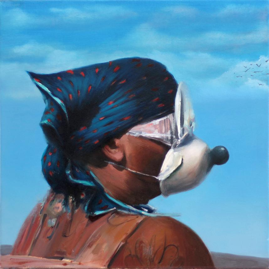 Gogo Ieromonachou, The Tourist, oil on canvas, 40 x 40 cm, 2020