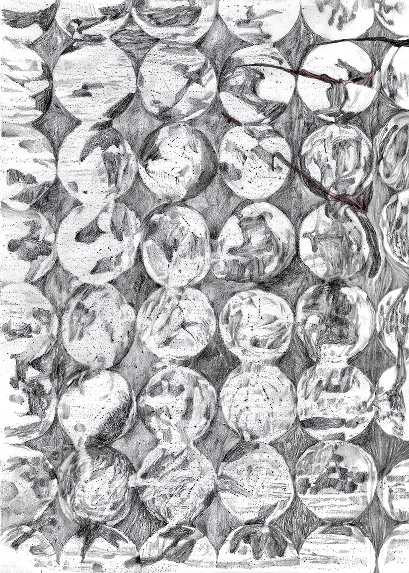 George Kazazis, Traces, pencil on paper, 30 x 20 cm (excl frame), 2021