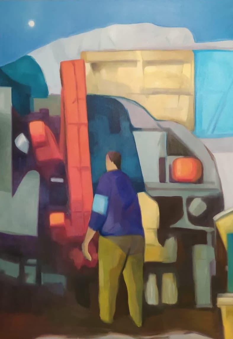 Michalis Kiousis, Untitled #2, oil on canvas, 41 x 29 cm, 2021