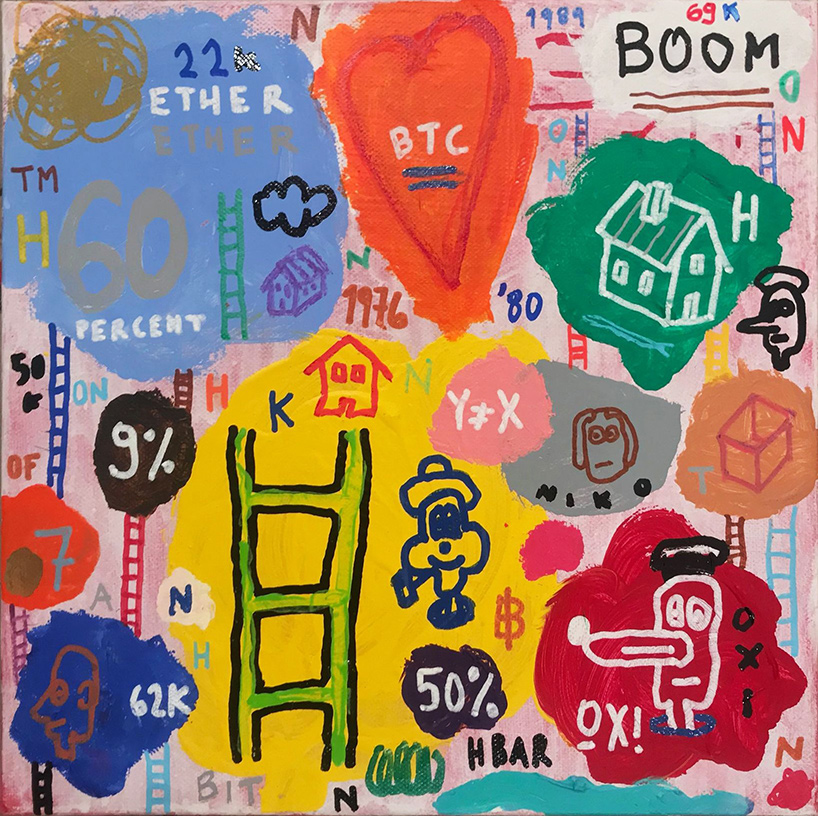 Nikos Lagos, Ether, acrylics and acrylic markers on canvas, 30 x 30 cm, 2021