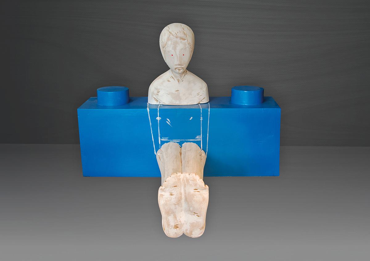 Ivan Lardschneider, Aquaplay, linden wood, 50 x 65 x 70 cm, 2020