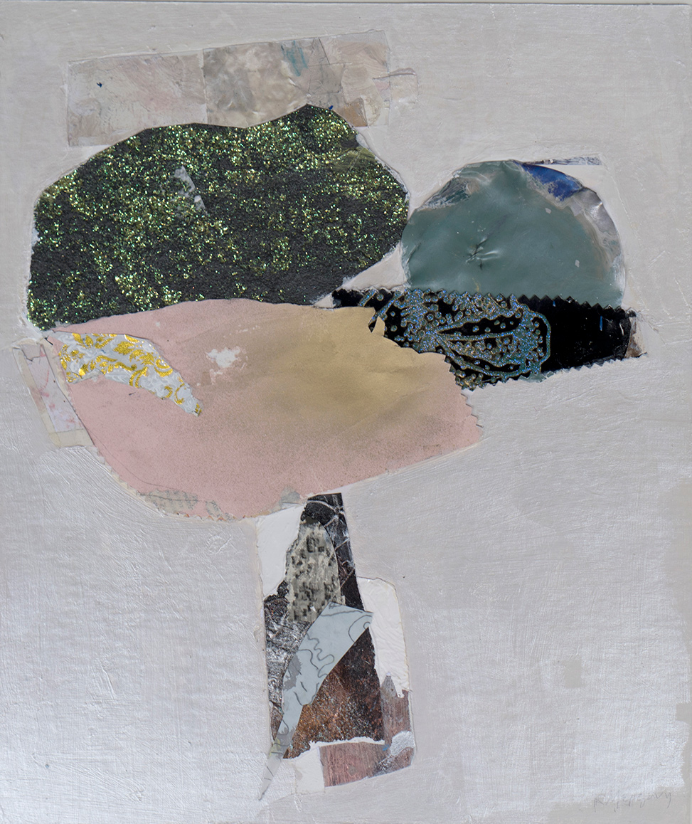 Katerina Mertzani, Heaven-no humans admitted, collage and acrylic on paper, 39,5 x 33,5 cm