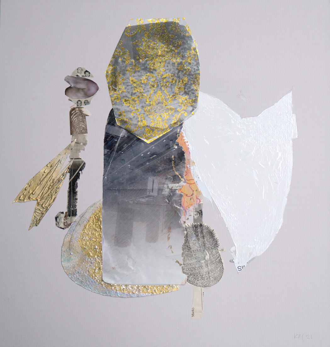 Katerina Mertzani, The town gown, collage and acrylic on paper, 38,5 x 36,5 cm