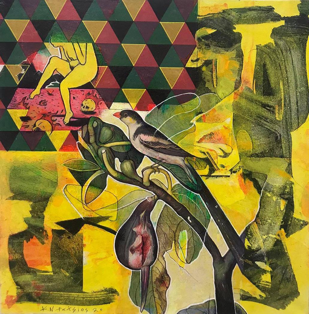 Konstantinos Patsios, Adam and Eve, mixed media on canvas, 40 x 40 cm, 2020