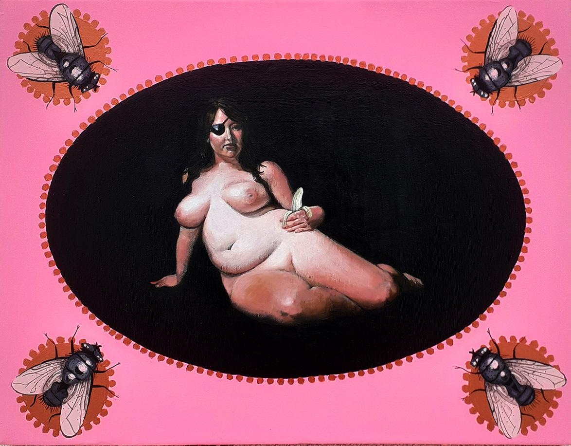Stamatis Theocharis, Self-indulgence, acrylic on canvas, 35 x 45 cm, 2021