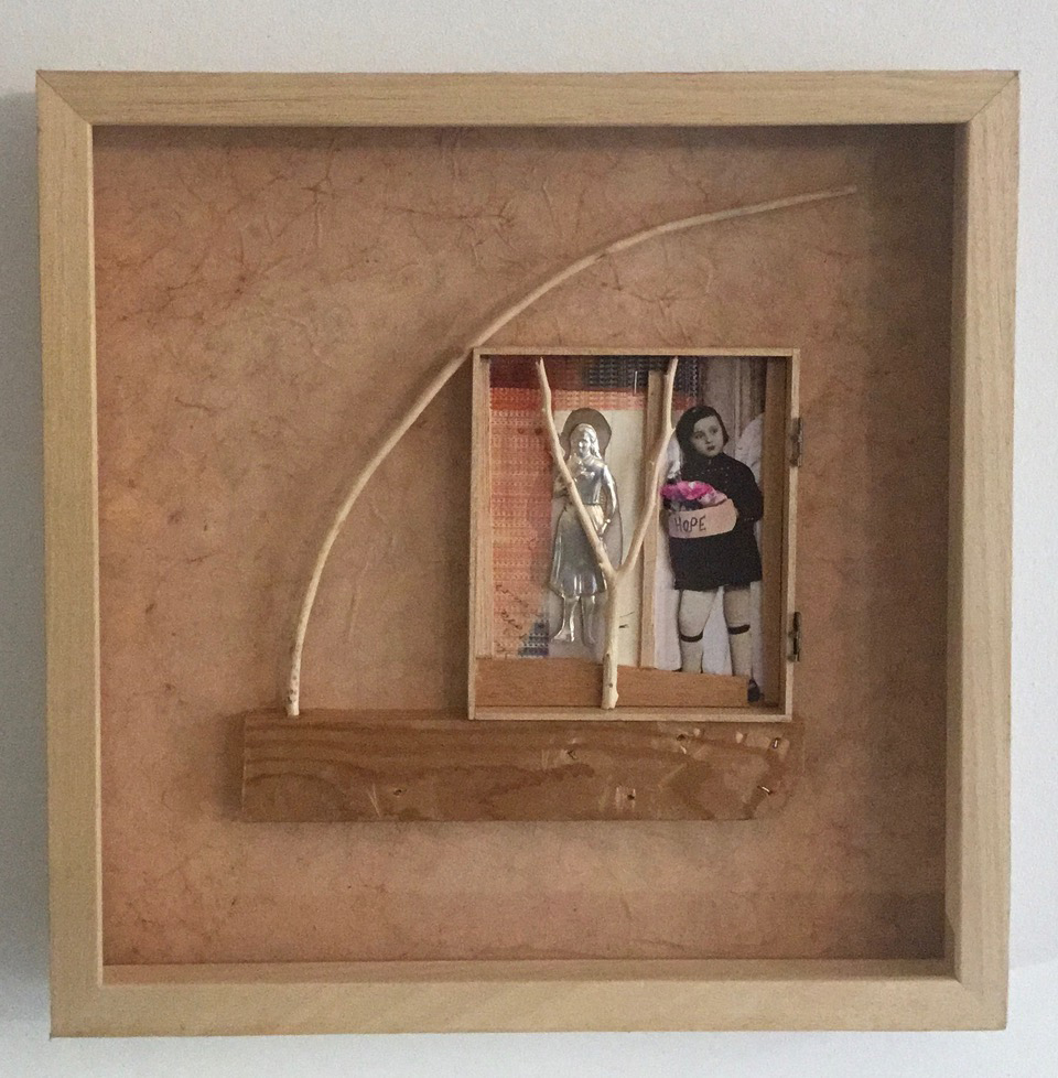 Andreas Voussouras, E la nave va, wood and collage on paper, 38 x 38 x 5 cm 2021
