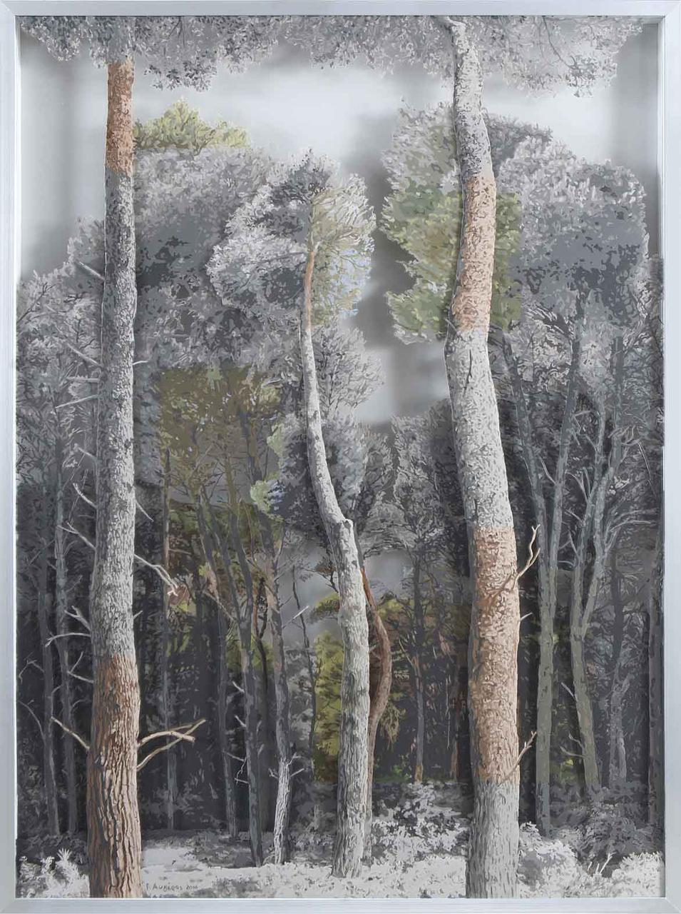 Forest 3, oil on transparent film, 86 x 117 cm, 2016