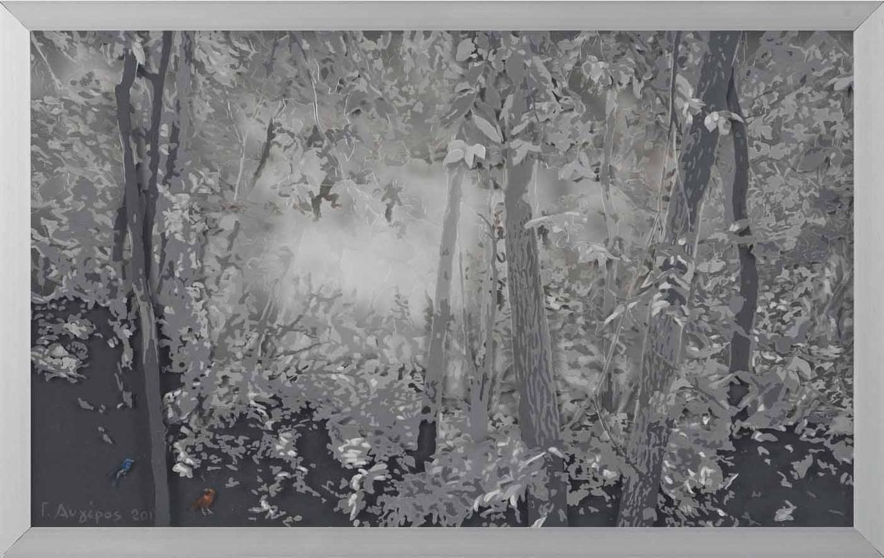 Forest 10, oil on transparent film, 56 x 35 cm, 2013