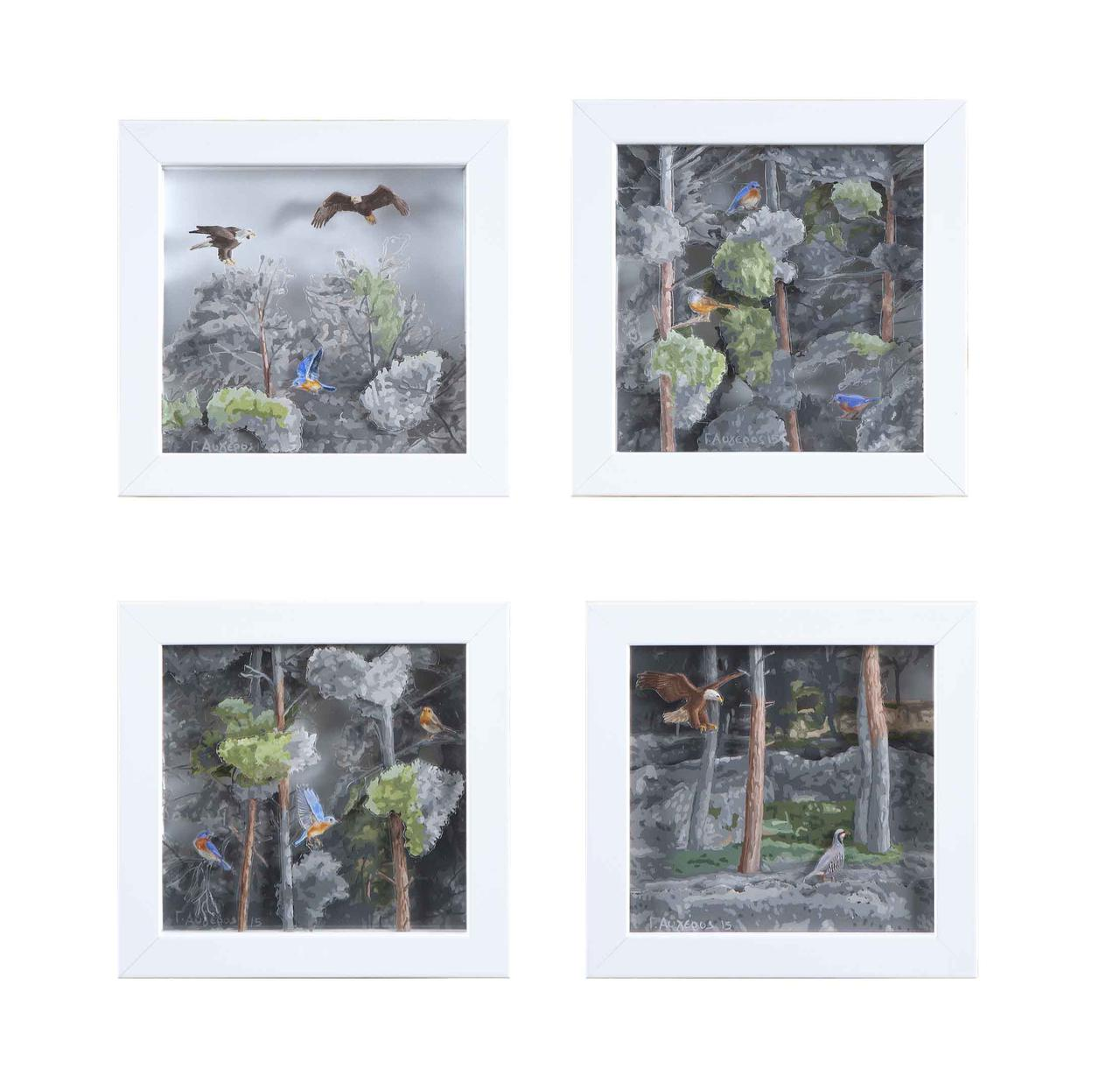 Forest, oil on transparent film, 15 x 14 cm each one, 2015