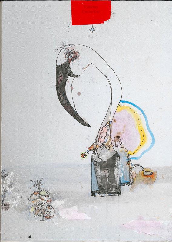 Vanessa Anastasopoulou, Anaplothirio, mixed media on paper on wood, 18 x 13 cm