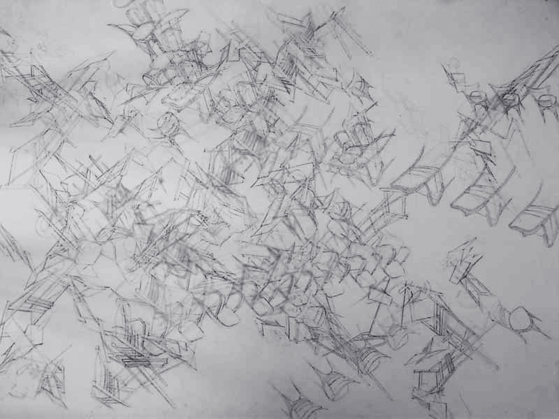 Christos Dimitriadis, Obsession III, charcoal on Fabriano paper, 79 x 104 cm